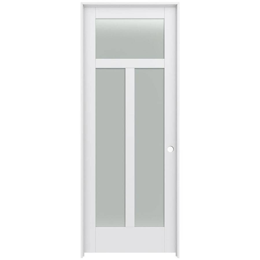 JELD-WEN MODA 3-lite Frosted Glass Pine Single Prehung Interior Door (Common: 36-in X 96-in; Actual: 37.562-in x 97.688-in)