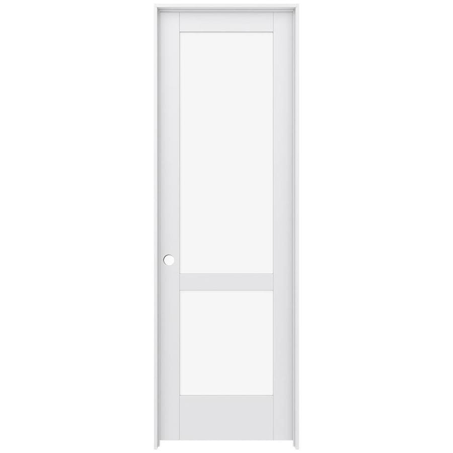 JELD-WEN MODA Primed Solid Core Clear Glass MDF Pine Single Prehung Interior Door (Common: 32-in x 96-in; Actual: 33.5600-in x 97.6900-in)