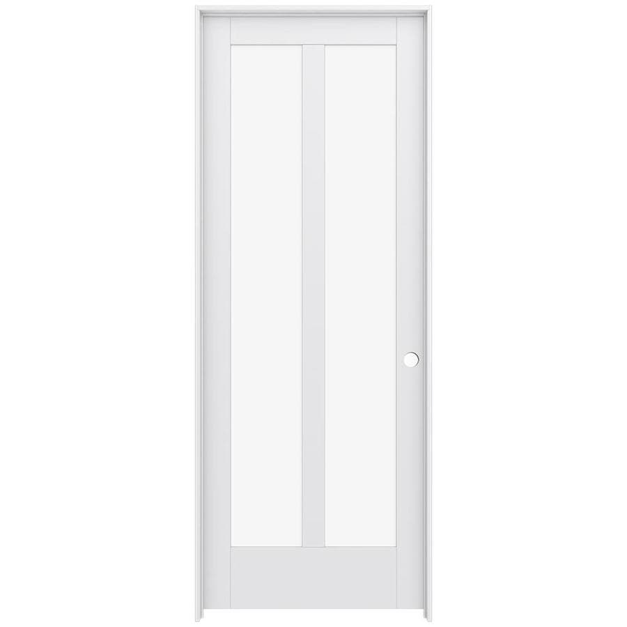JELD-WEN MODA Primed Solid Core Clear Glass MDF Pine Single Prehung Interior Door (Common: 36-in x 96-in; Actual: 37.5600-in x 97.6900-in)