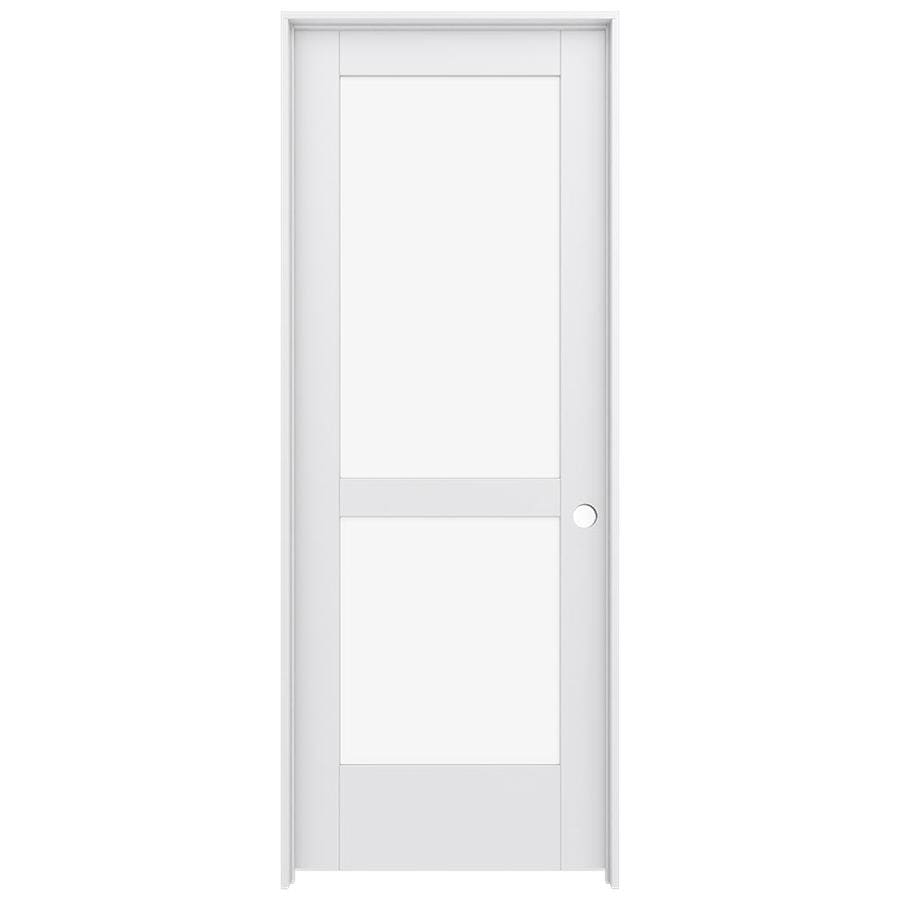 JELD-WEN MODA Primed Clear Glass Interior Door with Hardware (Common: 28-in x 80-in; Actual: 29.562-in x 81.688-in)
