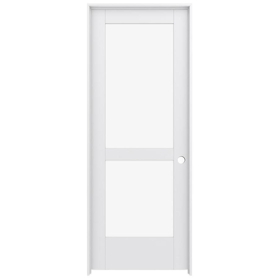 JELD-WEN Moda Prehung Solid Core 2-Lite Clear Glass Interior Door (Common: 32-in x 80-in; Actual: 33.562-in x 81.688-in)
