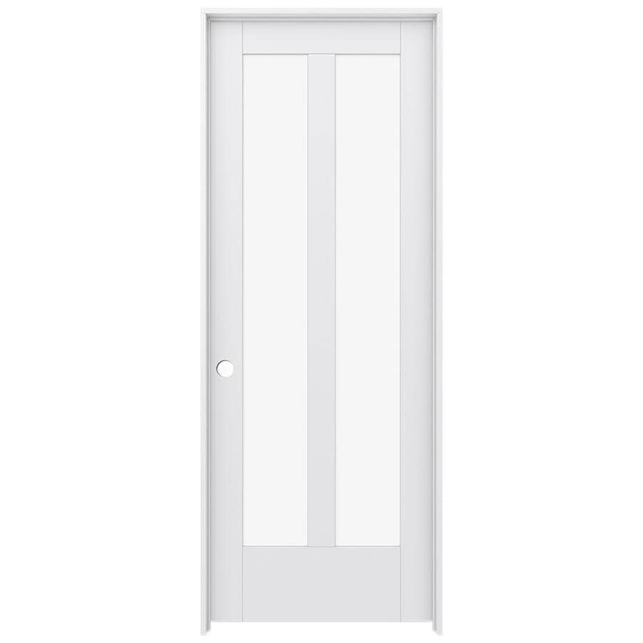 Shop jeld wen moda primed solid core clear glass mdf pine for Solid core mdf interior doors