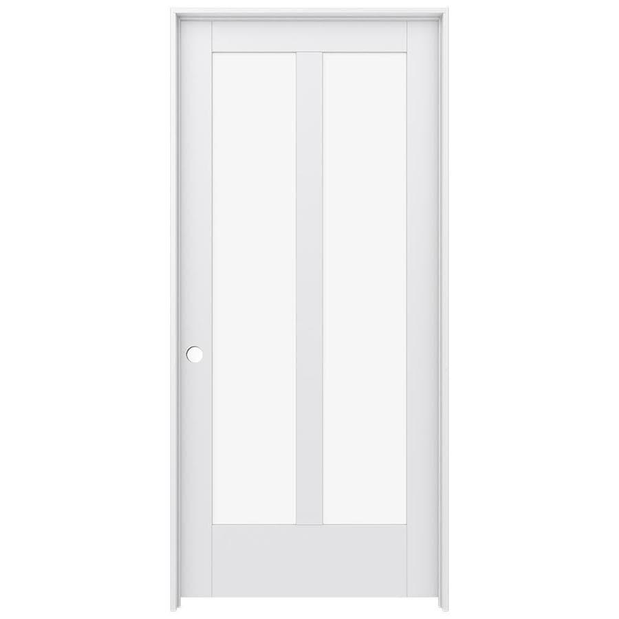 JELD-WEN MODA Primed Clear Glass Interior Door with Hardware (Common: 36-in x 80-in; Actual: 37.562-in x 81.688-in)