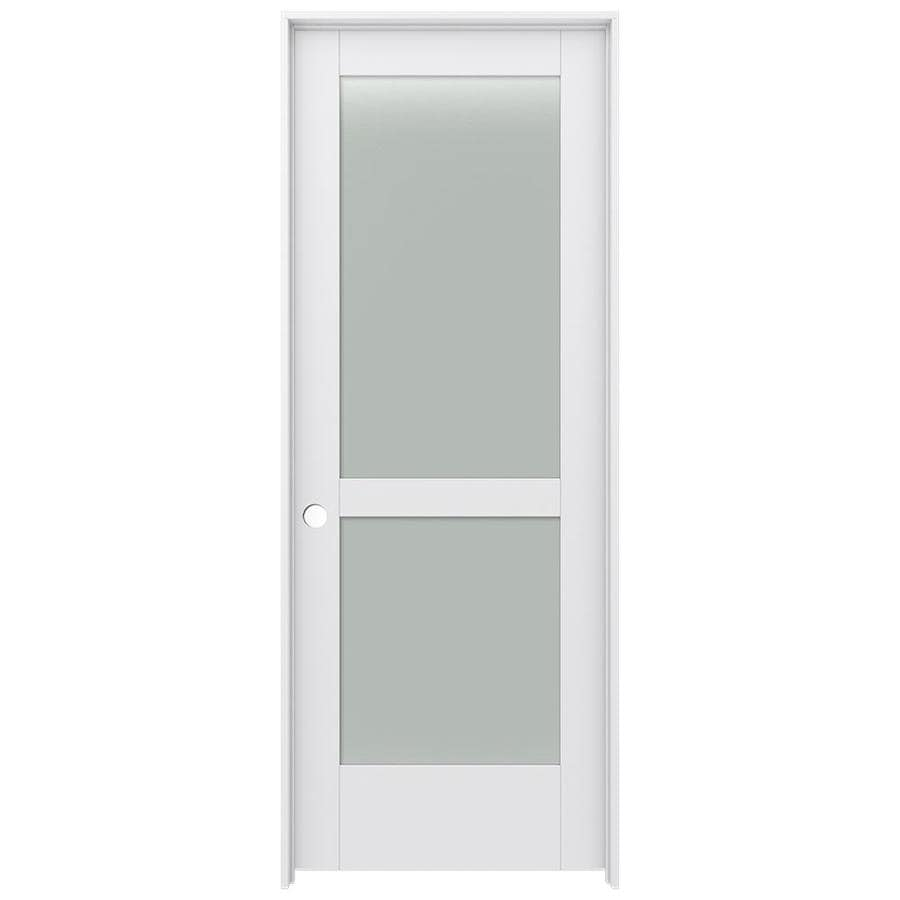 JELD-WEN MODA Primed Solid Core Frosted Glass MDF Pine Single Prehung Interior Door (Common: 24-in x 80-in; Actual: 25.5600-in x 81.6900-in)