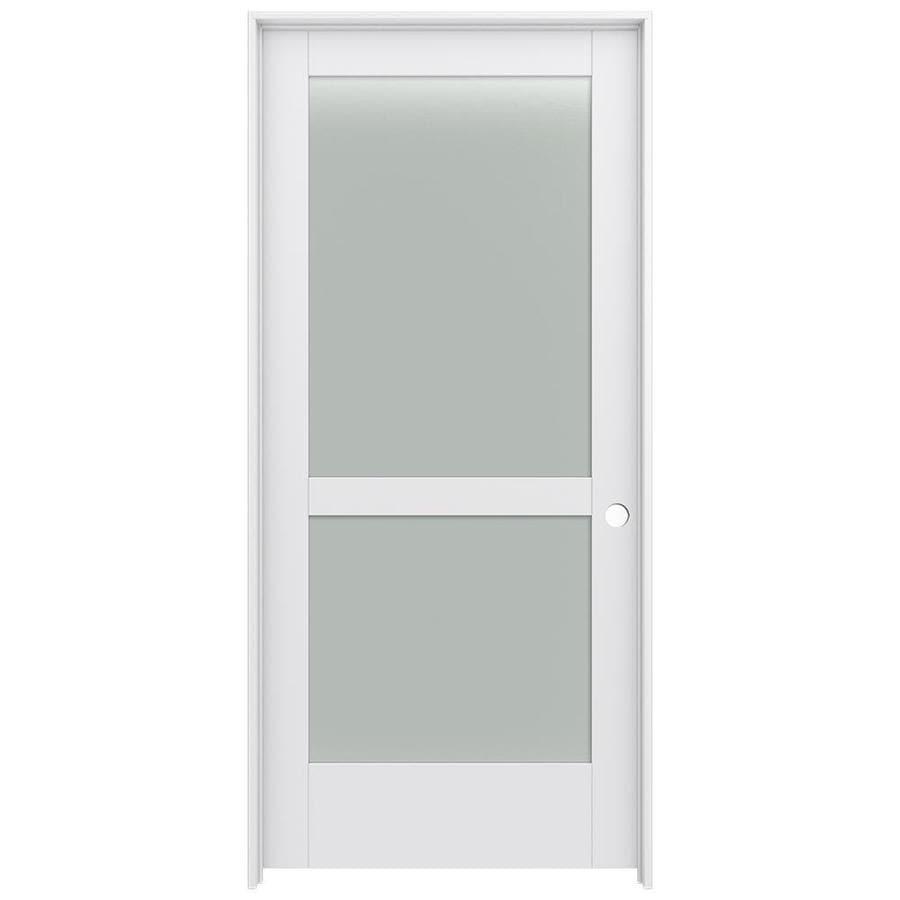 JELD-WEN MODA Primed Frosted Glass Interior Door with Hardware (Common: 36-in x 80-in; Actual: 37.562-in x 81.688-in)