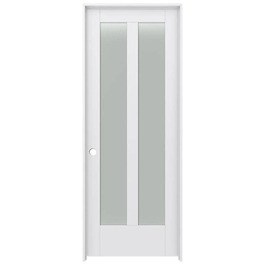 JELD-WEN MODA Primed Frosted Glass Wood Pine Single Prehung Interior Door (Common: 24-in X 80-in; Actual: 25.5625-in x 81.9875-in)