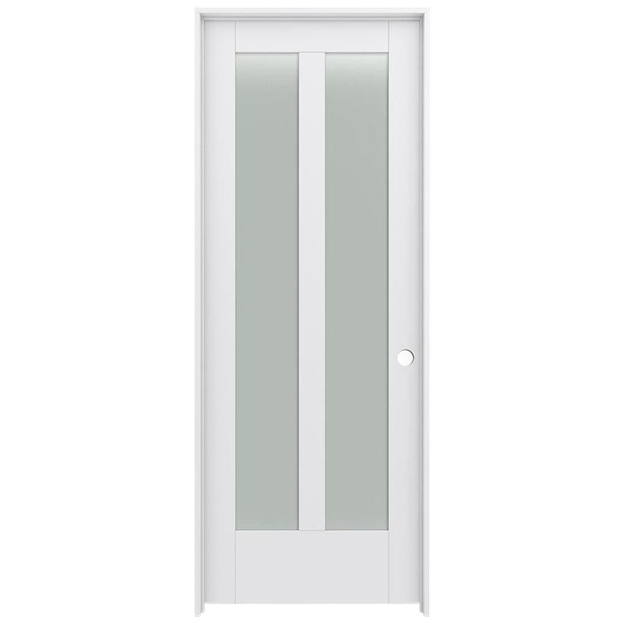 JELD-WEN MODA Primed Frosted Glass Interior Door with Hardware (Common: 32-in x 80-in; Actual: 33.562-in x 81.688-in)