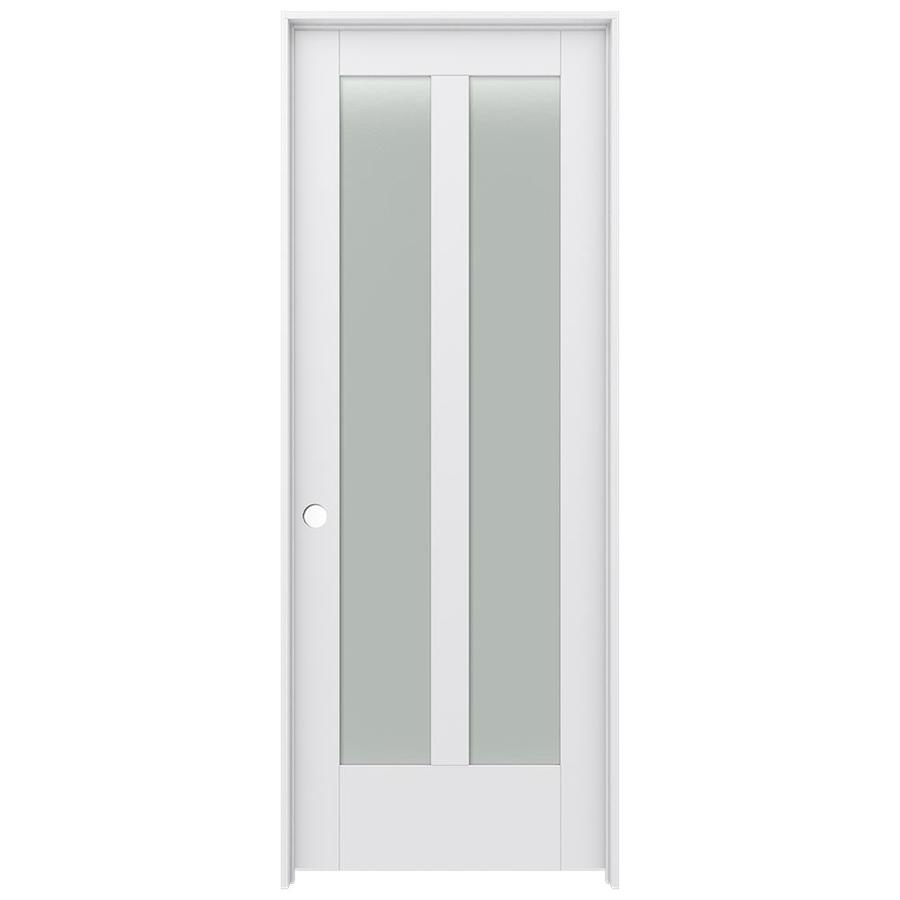 JELD-WEN Moda Prehung Solid Core 2-Lite Frosted Glass Interior Door (Common: 32-in x 80-in; Actual: 33.562-in x 81.688-in)