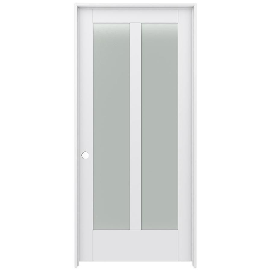 JELD-WEN Moda Prehung Solid Core 2-Lite Frosted Glass Interior Door (Common: 36-in x 80-in; Actual: 37.562-in x 81.688-in)