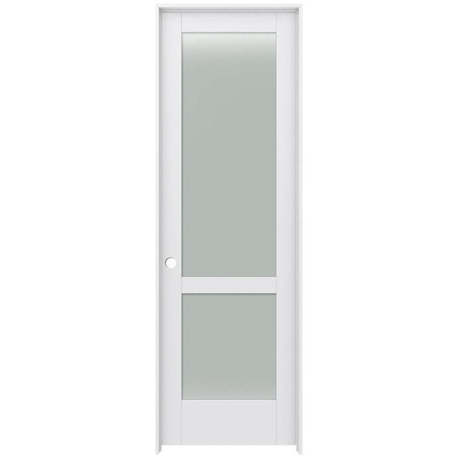 JELD-WEN Moda Prehung Solid Core 2-Lite Frosted Glass Interior Door (Common: 24-in x 96-in; Actual: 25.562-in x 97.688-in)