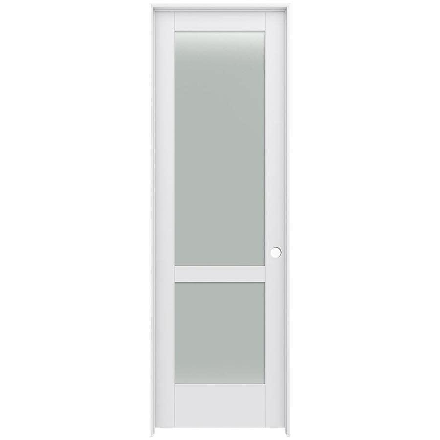JELD-WEN Moda Prehung Solid Core 2-Lite Frosted Glass Interior Door (Common: 30-in x 96-in; Actual: 31.562-in x 97.688-in)
