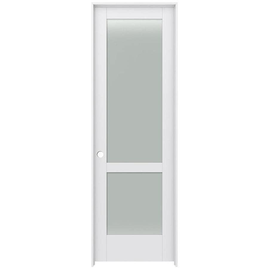 JELD-WEN MODA Primed Frosted Glass Interior Door with Hardware (Common: 30-in x 96-in; Actual: 31.562-in x 97.688-in)
