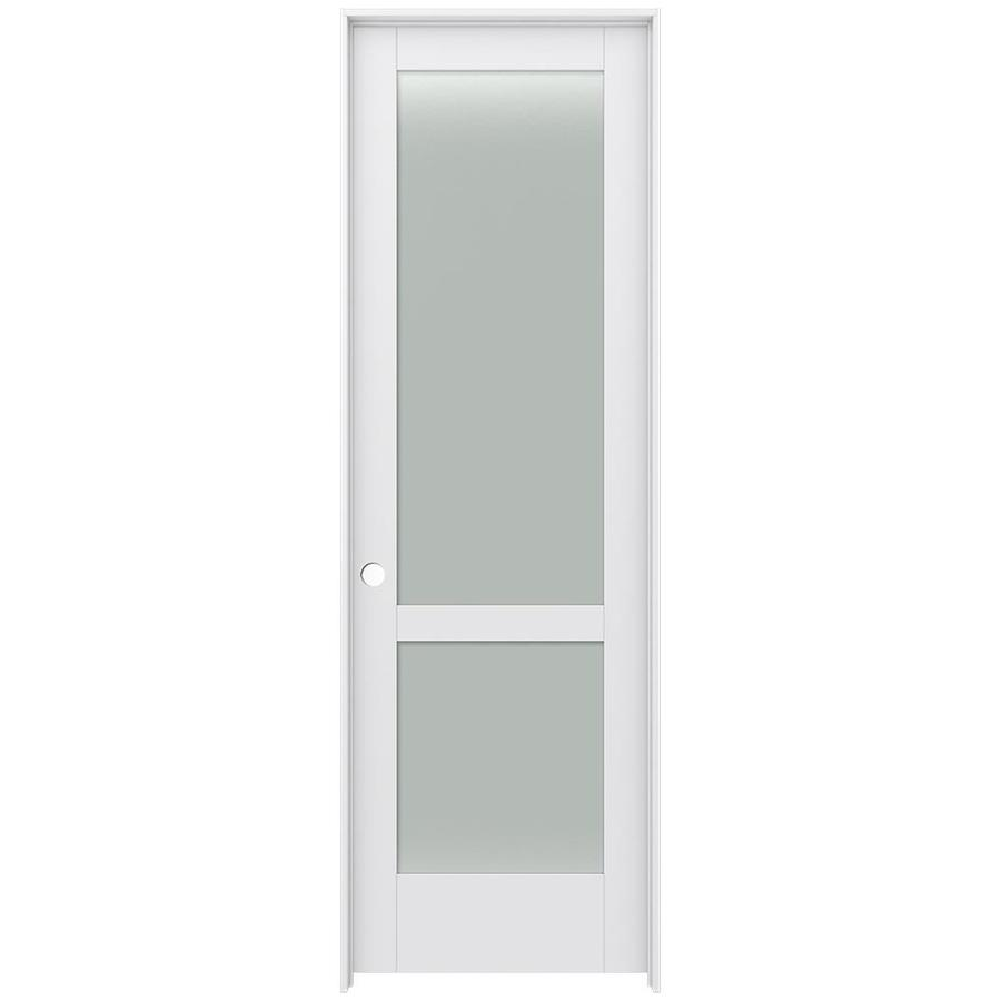 JELD-WEN Moda Prehung Solid Core 2-Lite Frosted Glass Interior Door (Common: 32-in x 96-in; Actual: 33.562-in x 97.688-in)