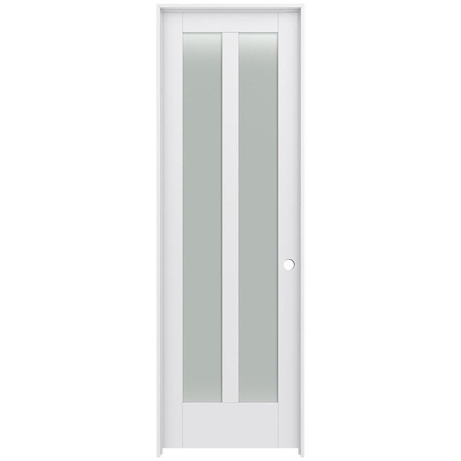 JELD-WEN Moda Prehung Solid Core 2-Lite Frosted Glass Interior Door (Common: 24-in x 96-in; Actual: 25.562-in x 97.688-in)