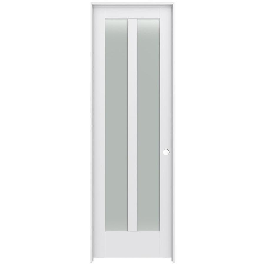 JELD-WEN MODA Frosted Glass Pine Single Prehung Interior Door (Common: 28-in x 96-in; Actual: 29.5600-in x 97.6900-in)