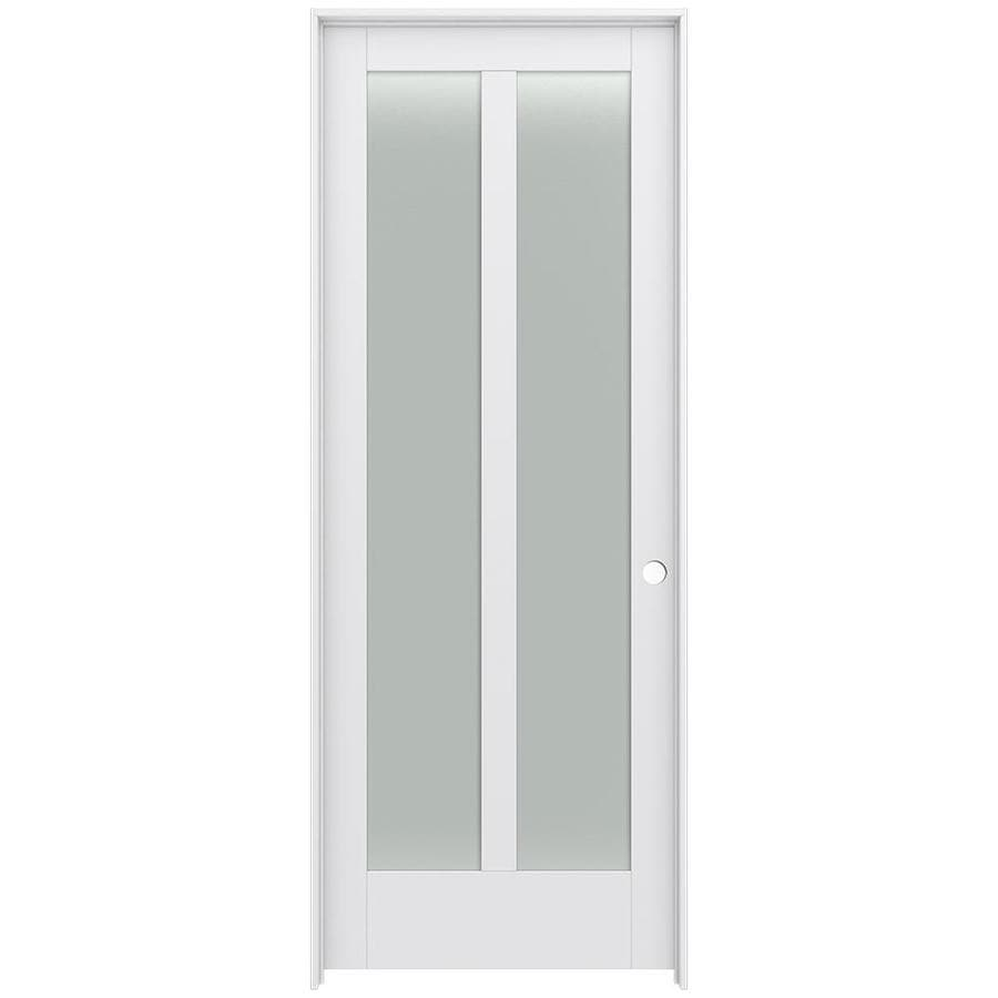 JELD-WEN Moda Prehung Solid Core 2-Lite Frosted Glass Interior Door (Common: 36-in x 96-in; Actual: 37.562-in x 97.688-in)
