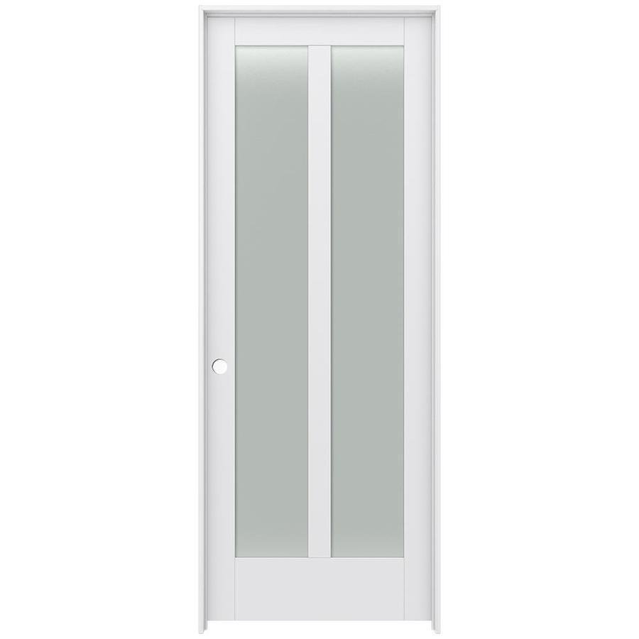 JELD-WEN MODA Primed Frosted Glass Interior Door with Hardware (Common: 36-in x 96-in; Actual: 37.562-in x 97.688-in)