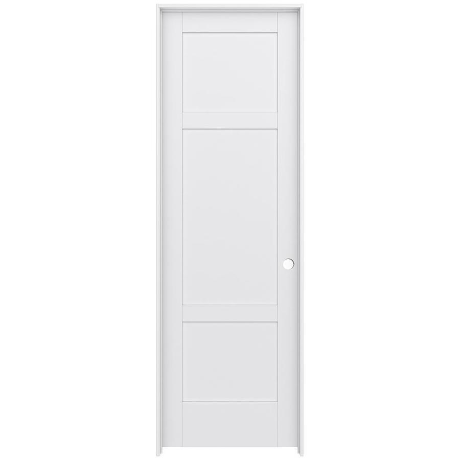 JELD-WEN MODA Primed Solid Core MDF Pine Single Prehung Interior Door (Common: 32-in x 96-in; Actual: 33.5600-in x 97.6900-in)