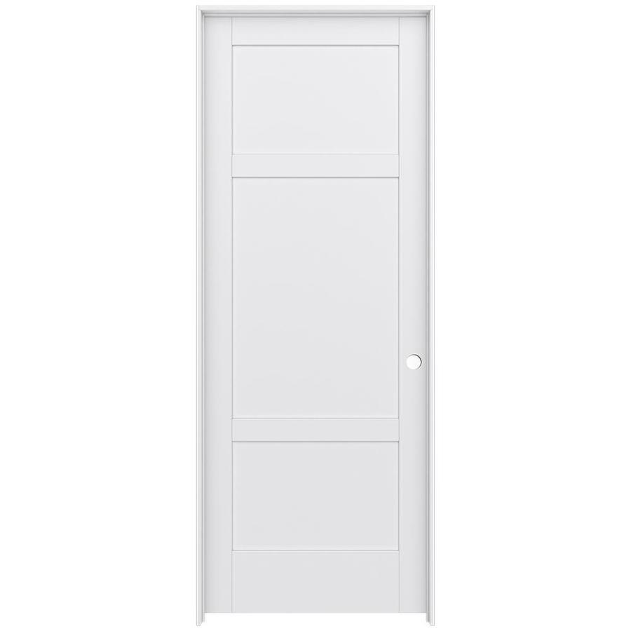 JELD-WEN MODA Primed Solid Core MDF Pine Single Prehung Interior Door (Common: 36-in x 96-in; Actual: 37.5600-in x 97.6900-in)