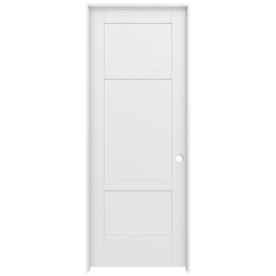 JELD-WEN MODA Primed Solid Core MDF Pine Single Prehung Interior Door (Common: 24-in x 80-in; Actual: 25.5600-in x 81.6900-in)
