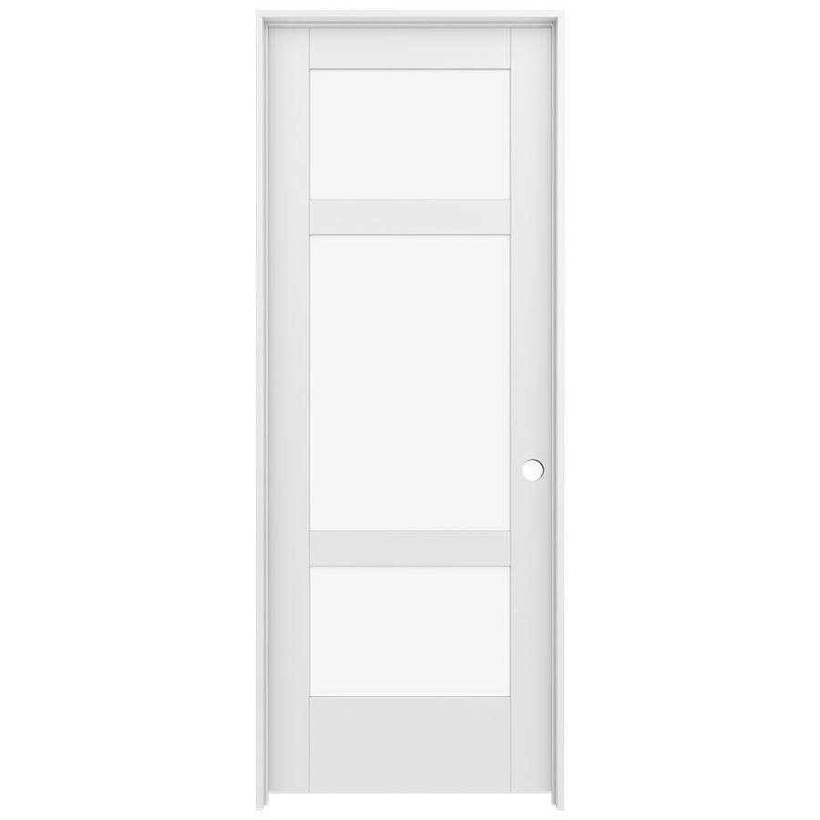 JELD-WEN Moda Prehung Solid Core 3-Lite Clear Glass Interior Door (Common: 32-in x 80-in; Actual: 33.562-in x 81.688-in)