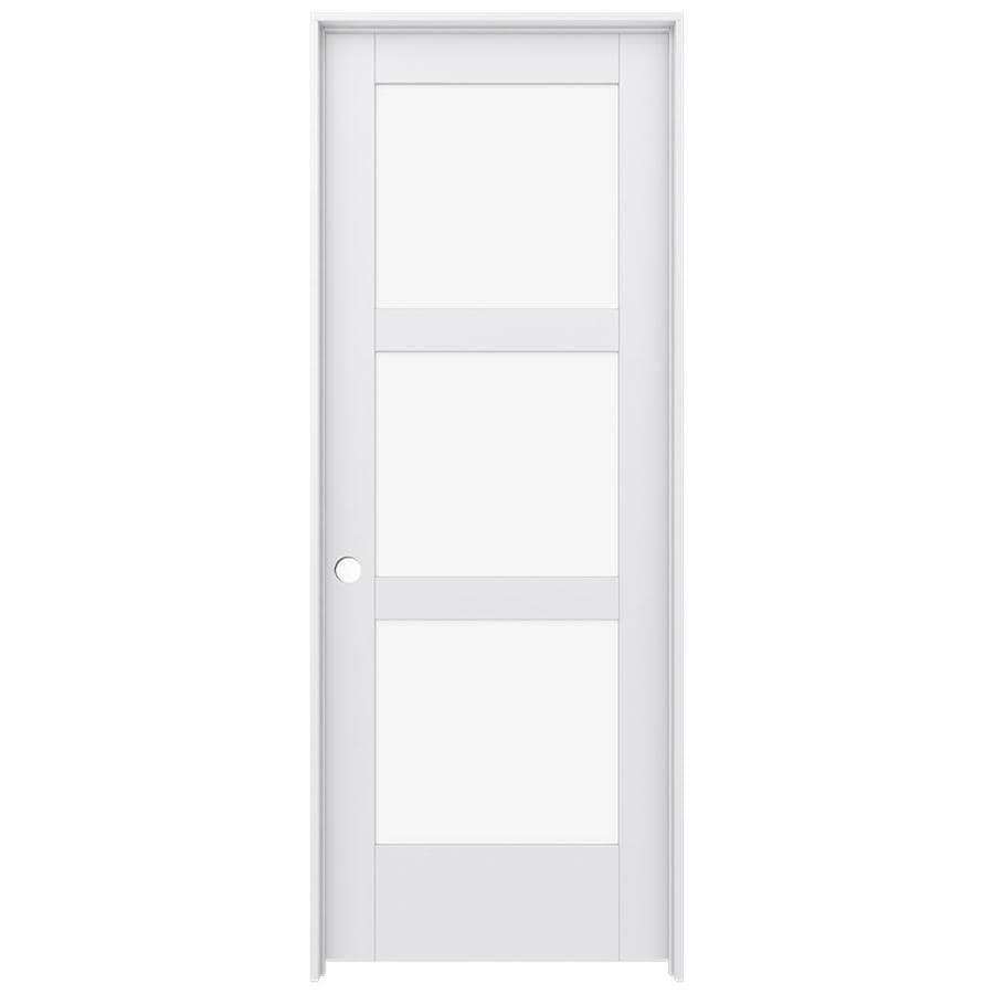 JELD-WEN Moda Prehung Solid Core 3-Lite Clear Glass Interior Door (Common: 28-in x 80-in; Actual: 29.562-in x 81.688-in)