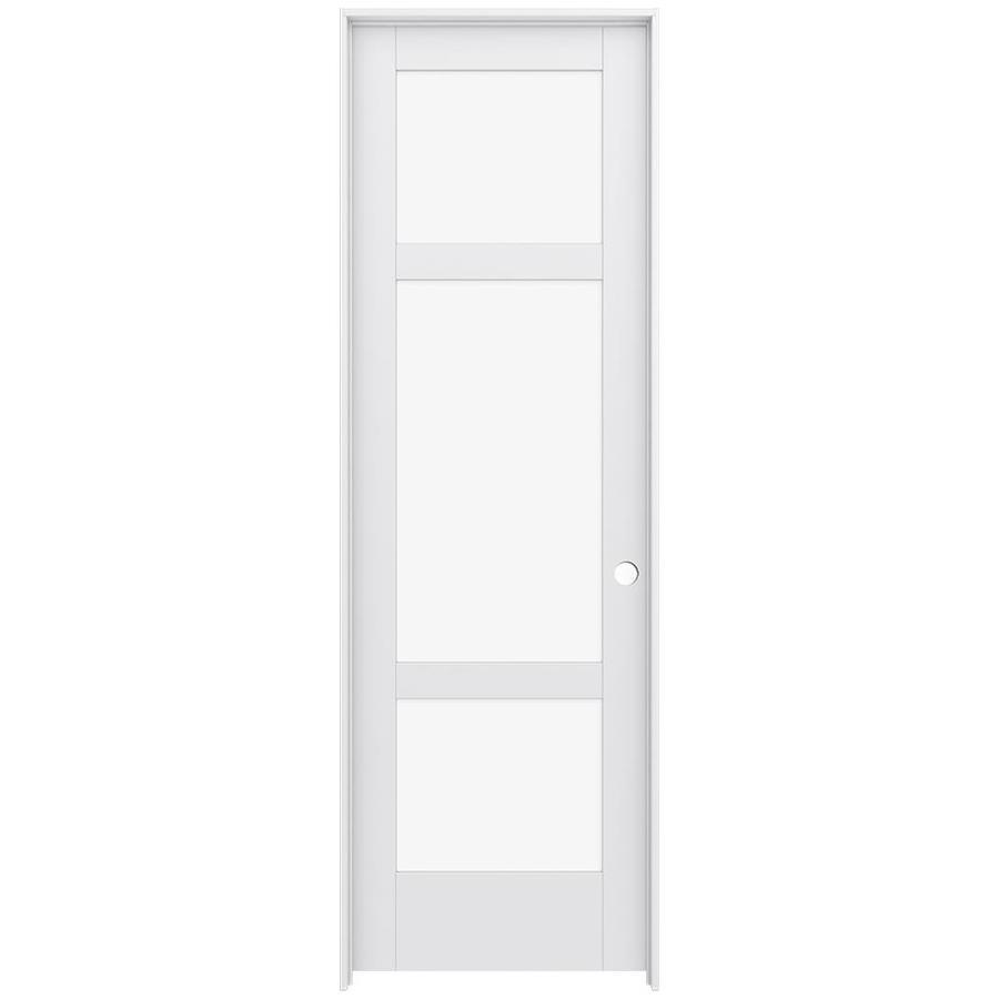JELD-WEN MODA Primed Clear Glass Interior Door with Hardware (Common: 24-in x 96-in; Actual: 25.562-in x 97.688-in)