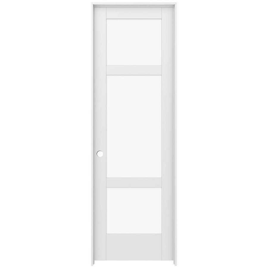 JELD-WEN MODA Primed Clear Glass Wood Pine Single Prehung Interior Door (Common: 32-in X 96-in; Actual: 33.5625-in x 97.6875-in)