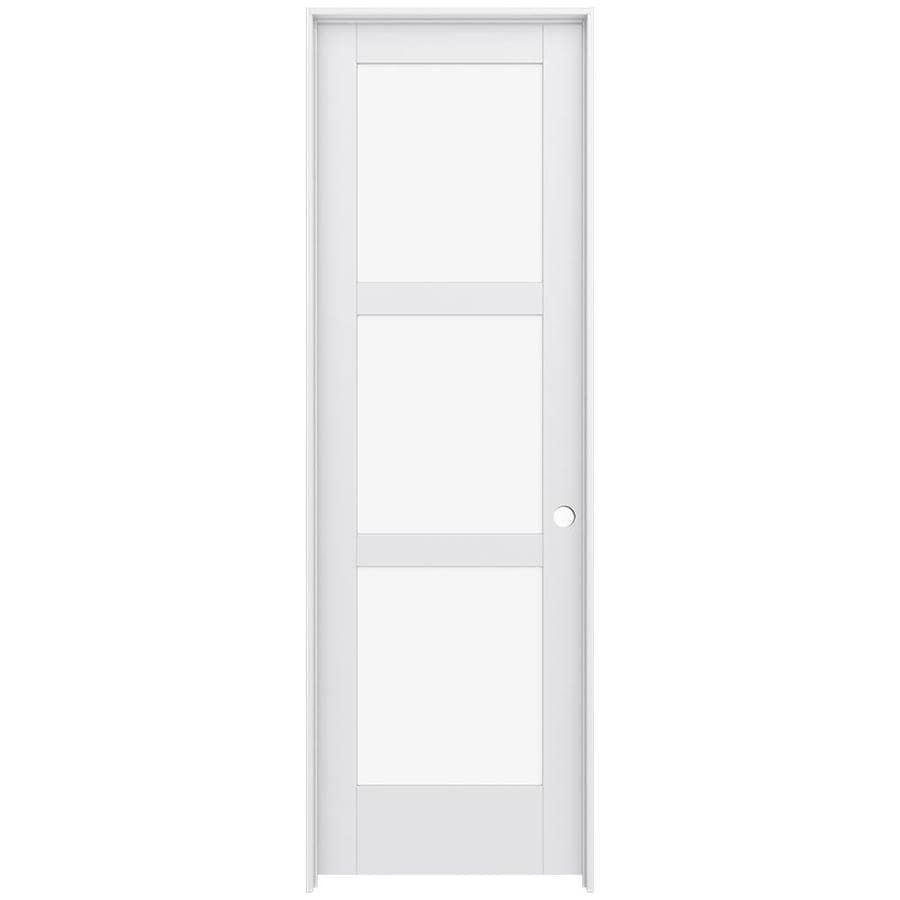 JELD-WEN MODA Primed Clear Glass Wood Pine Single Prehung Interior Door (Common: 30-in X 96-in; Actual: 31.5625-in x 97.6875-in)