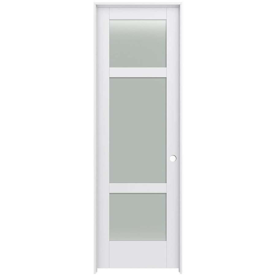 JELD-WEN Moda Prehung Solid Core 3-Lite Frosted Glass Interior Door (Common: 24-in x 96-in; Actual: 25.562-in x 97.688-in)