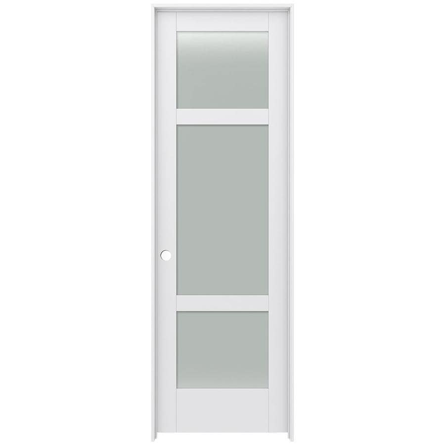 JELD-WEN MODA Primed Solid Core Frosted Glass MDF Pine Slab Interior Door (Common: 24-in x 96-in; Actual: 25.5600-in x 97.6900-in)