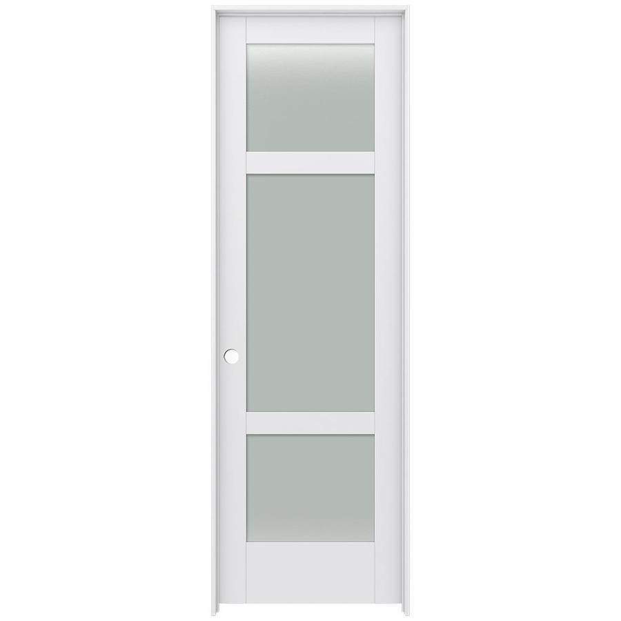 JELD-WEN Moda Prehung Solid Core 3-Lite Frosted Glass Interior Door (Common: 32-in x 96-in; Actual: 33.562-in x 97.688-in)