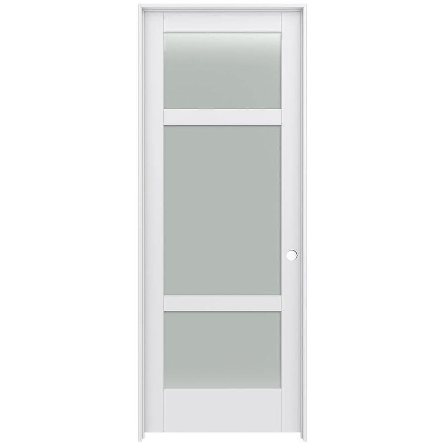 JELD-WEN MODA Primed Solid Core Frosted Glass MDF Pine Slab Interior Door (Common: 36-in x 96-in; Actual: 37.5600-in x 97.6900-in)