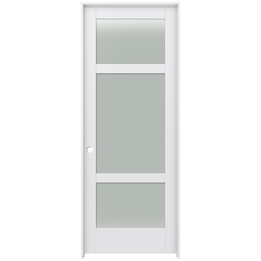 JELD-WEN Moda Prehung Solid Core 3-Lite Frosted Glass Interior Door (Common: 36-in x 96-in; Actual: 37.562-in x 97.688-in)
