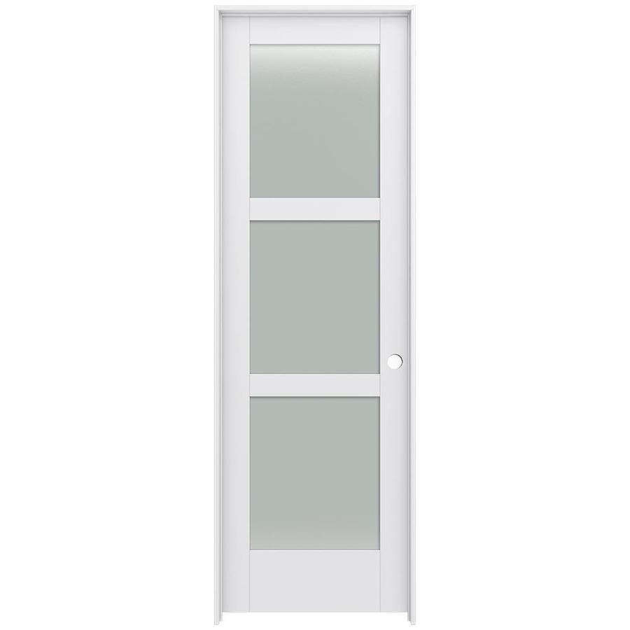 JELD-WEN Moda Prehung Solid Core 3-Lite Frosted Glass Interior Door (Common: 28-in x 96-in; Actual: 29.562-in x 97.688-in)