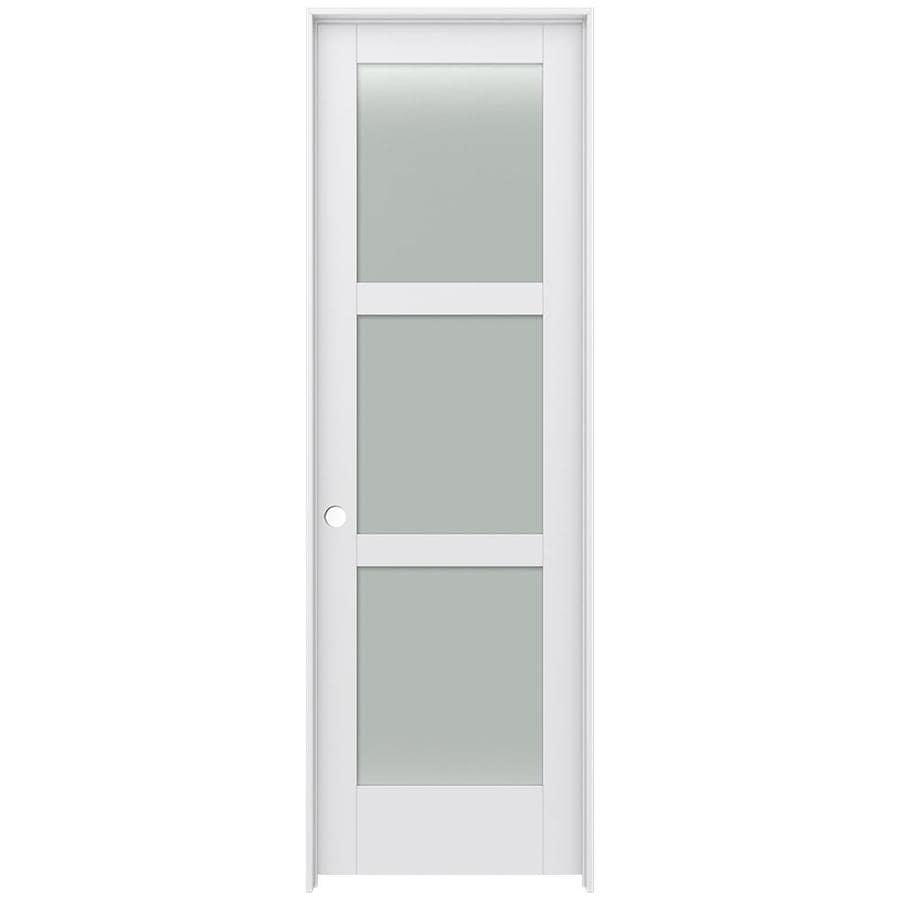 JELD-WEN MODA Primed Solid Core Frosted Glass MDF Pine Slab Interior Door (Common: 32-in x 96-in; Actual: 33.5600-in x 97.6900-in)
