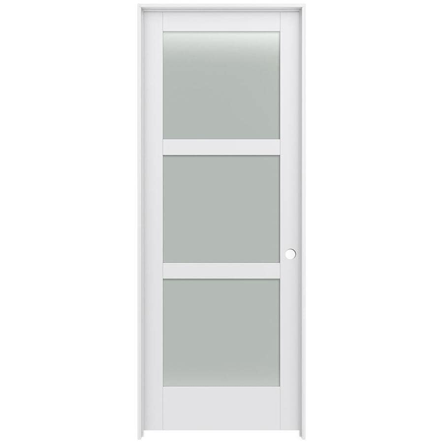 JELD-WEN MODA Primed Frosted Glass Wood Pine Single Prehung Interior Door (Common: 36-in X 96-in; Actual: 37.5625-in x 97.6875-in)