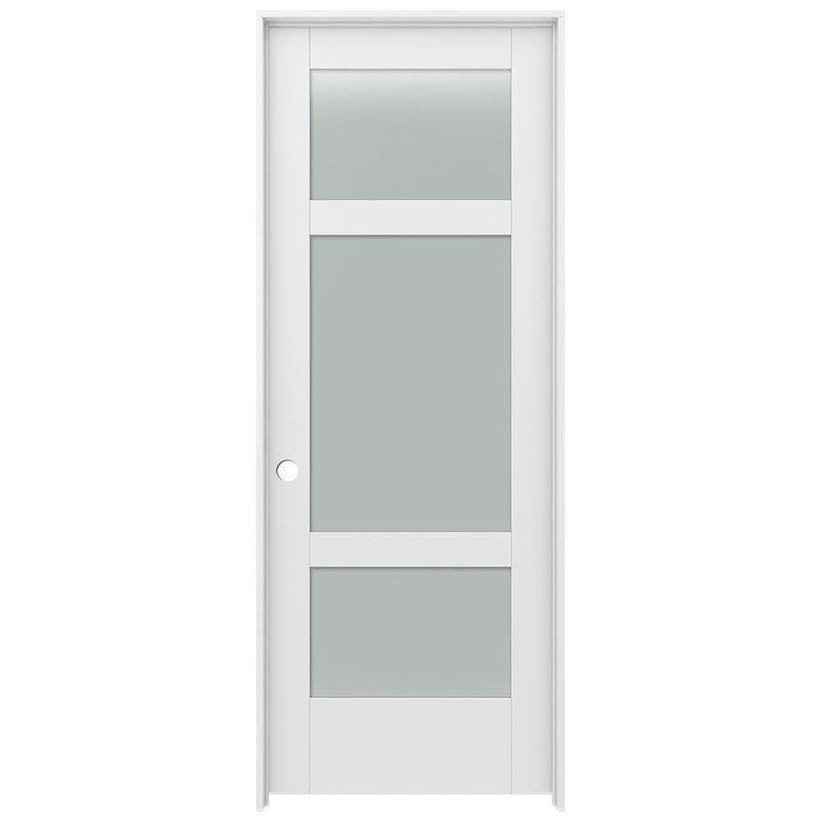 JELD-WEN MODA Primed Solid Core Frosted Glass MDF Pine Slab Interior Door (Common: 24-in x 80-in; Actual: 25.5600-in x 81.6900-in)