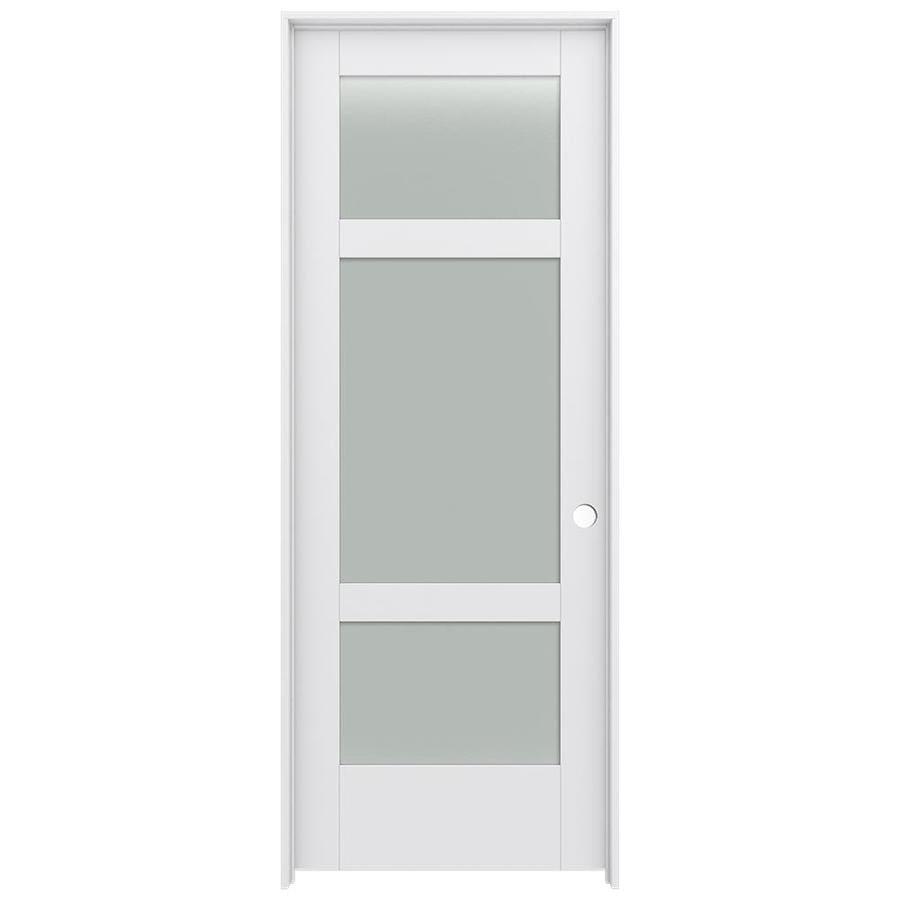 JELD-WEN MODA Primed Frosted Glass Interior Door with Hardware (Common: 28-in x 80-in; Actual: 29.562-in x 81.688-in)