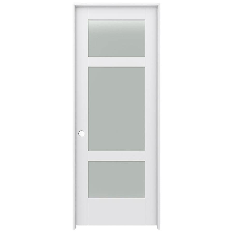 JELD-WEN Moda Prehung Solid Core 3-Lite Frosted Glass Interior Door (Common: 28-in x 80-in; Actual: 29.562-in x 81.688-in)