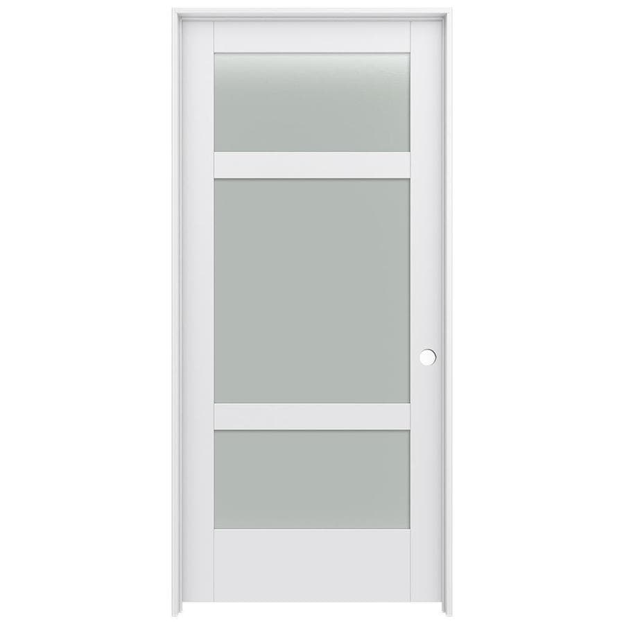JELD-WEN MODA 3-lite Frosted Glass Pine Single Prehung Interior Door (Common: 36-in X 80-in; Actual: 37.562-in x 81.688-in)