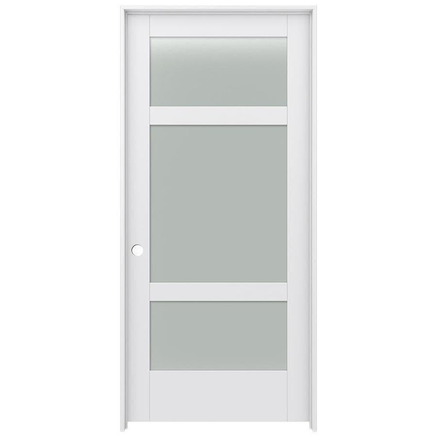JELD-WEN MODA Primed Frosted Glass Wood Pine Single Prehung Interior Door (Common: 36-in X 80-in; Actual: 37.5625-in x 81.9875-in)