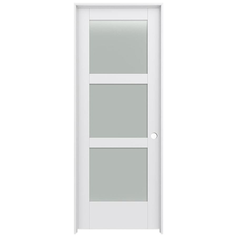 JELD-WEN MODA Primed Solid Core Frosted Glass MDF Pine Slab Interior Door (Common: 24-in x 80-in; Actual: 25.5600-in x 81.6900-in)