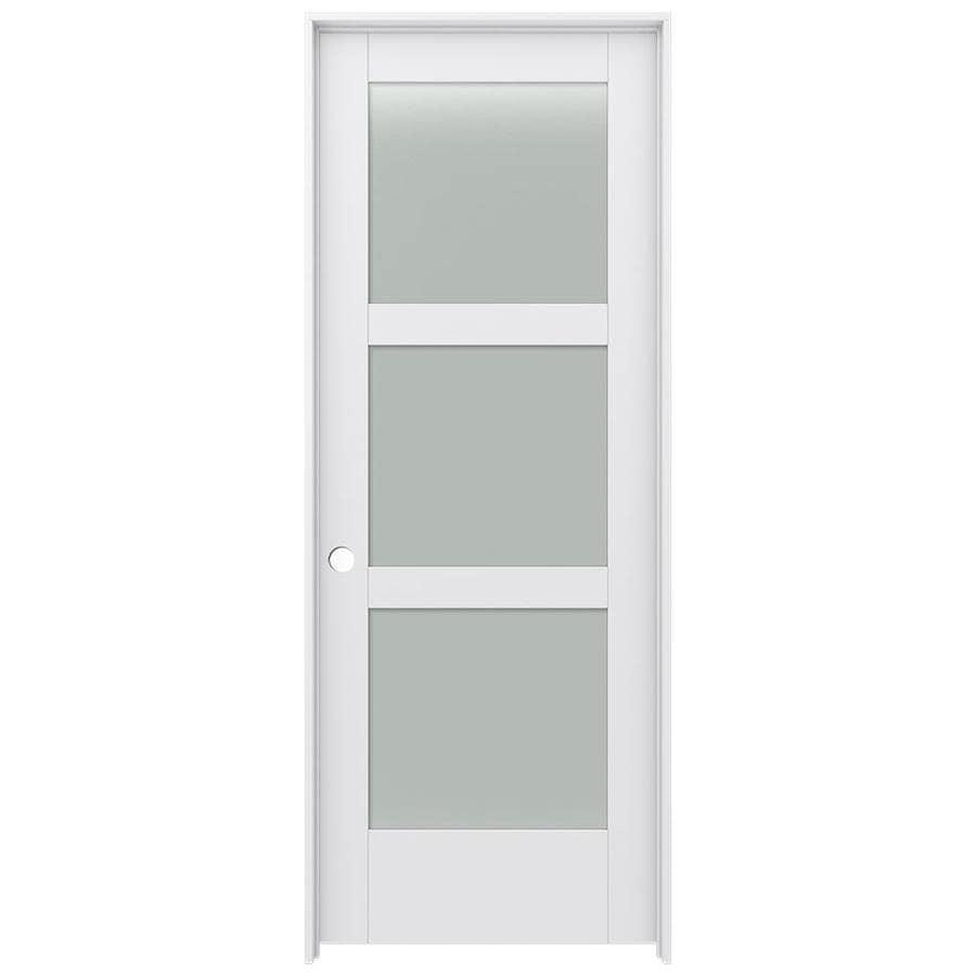JELD-WEN Moda Prehung Solid Core 3-Lite Frosted Glass Interior Door (Common: 28-in x 80-in; Actual: 29.562-in x 81.688-in)