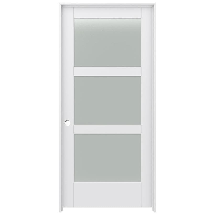 JELD-WEN MODA Primed Frosted Glass Wood Pine Single Prehung Interior Door (Common: 36-in X 80-in; Actual: 37.5625-in x 81.9875-in)