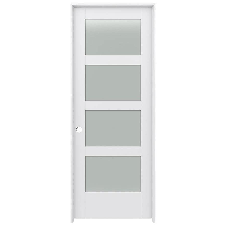 JELD-WEN Moda Prehung Solid Core 4-Lite Frosted Glass Interior Door (Common: 24-in x 80-in; Actual: 25.562-in x 81.688-in)