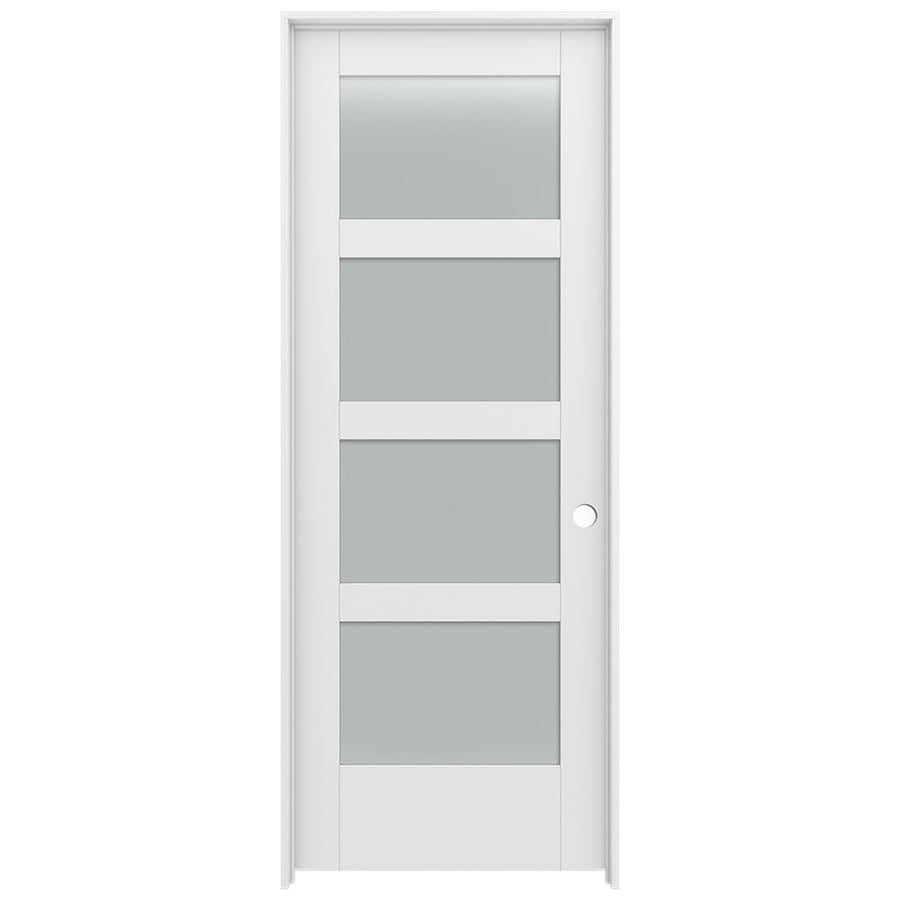 JELD-WEN MODA Primed Solid Core Frosted Glass MDF Pine Slab Interior Door (Common: 28-in x 80-in; Actual: 29.5600-in x 81.6900-in)