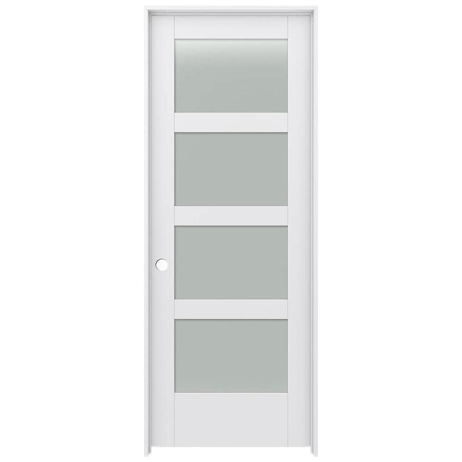 JELD-WEN Moda Prehung Solid Core 4-Lite Frosted Glass Interior Door (Common: 28-in x 80-in; Actual: 29.562-in x 81.688-in)
