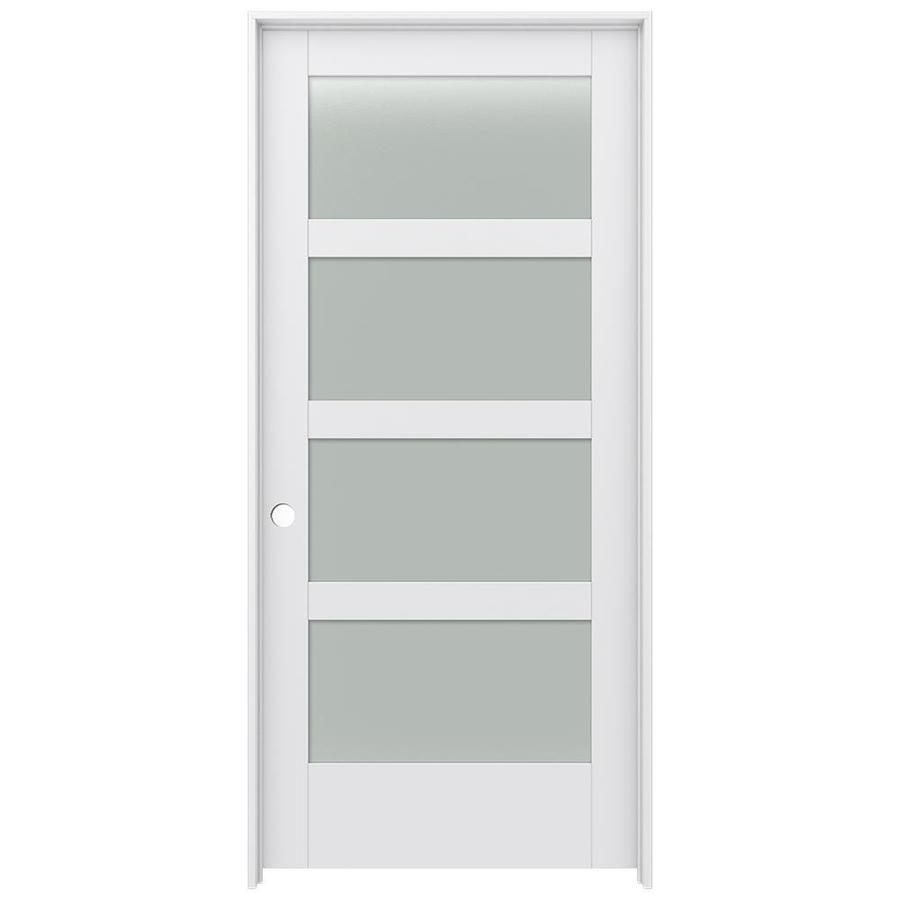 JELD-WEN MODA Primed Solid Core Frosted Glass MDF Pine Slab Interior Door (Common: 36-in x 80-in; Actual: 37.5600-in x 81.6900-in)