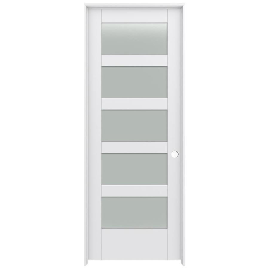 JELD-WEN MODA Primed Frosted Glass Wood Pine Single Prehung Interior Door (Common: 28-in X 80-in; Actual: 29.5625-in x 81.9875-in)
